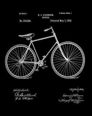 Digital Art - Bicycle Patent 1894 Black by Bill Cannon