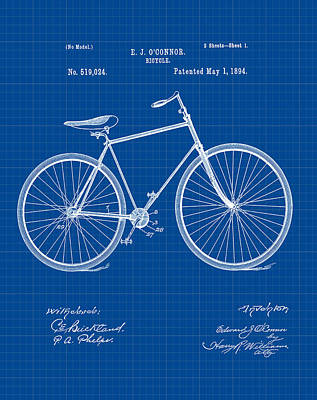 Bike Digital Art - Bicycle Patent 1894 Blue Print by Bill Cannon