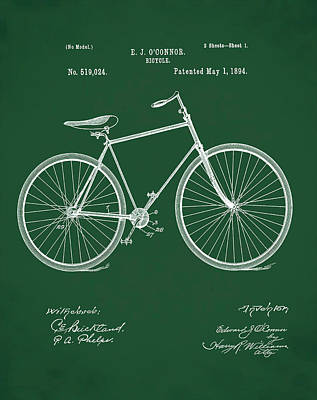 Sepia Chalk Photograph - Bicycle Patent 1894 Green by Bill Cannon