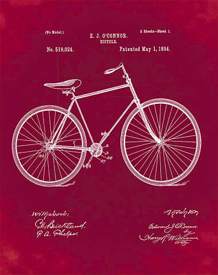 Velocipede Drawing - Bicycle Patent 1894 Red by Bill Cannon