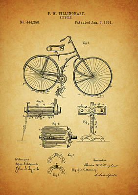 Old Mixed Media - Bicycle Patent by Dan Sproul