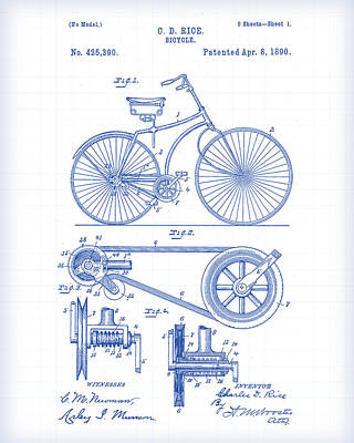 Painting - Bicycle Patent Drawing by Gary Grayson