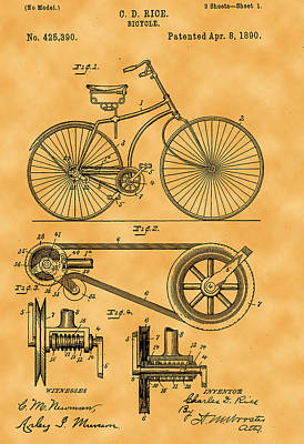 Photograph - Bicycle Patent by Michael Porchik