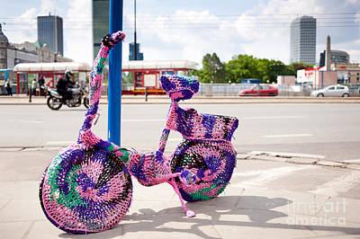 Embellished Photograph - Bicycle Pink Guerrilla Knitting by Arletta Cwalina