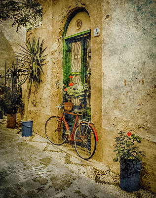 Photograph - Rhodes, Greece - Bicycle Planter by Mark Forte