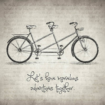 Drawing - Bicycle Quote by Taylan Apukovska