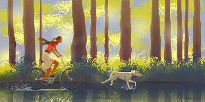 Walking The Dog Digital Art - Bicycle Ride by Adam Gaba