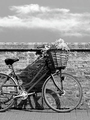Photograph - Bicycle Shadows And Sunshine Mono by Gill Billington