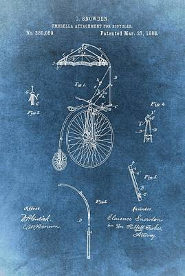Umbrellas Mixed Media - Bicycle Umbrella Patent Blue by Dan Sproul