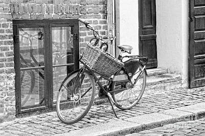 Photograph - Bicycle With Big Basket In Copenhagen, B W by Catherine Sherman