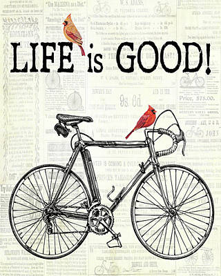Bicycle With Cardinals C Original