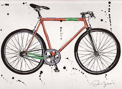 Fixie Drawing - Bicyclebicyclebicycle by Emily Jones