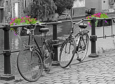 Photograph - Bicycles And Flower Boxes, Selective Color. by David Freuthal