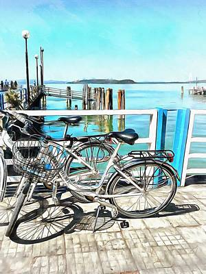 Photograph - Bicycles At The Ferry Dock Passignano Sul Trasimeno by Dorothy Berry-Lound