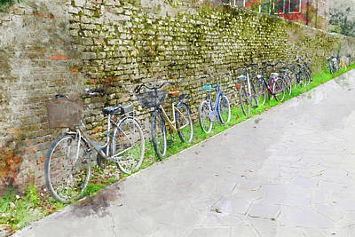 Toscana Digital Art - Bicycles In A Row In Italy by Brandon Bourdages