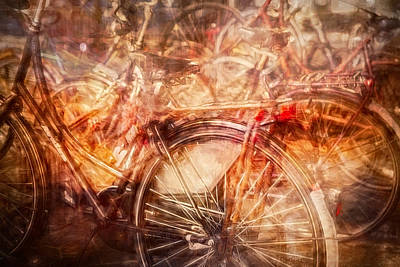 Digital Art - Bicycles In Amsterdam by Richard Anderson