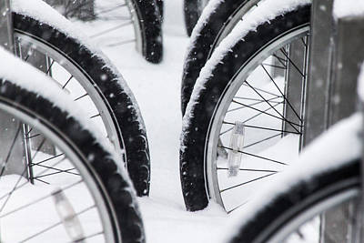 Photograph - Bicycles In Snow by SR Green