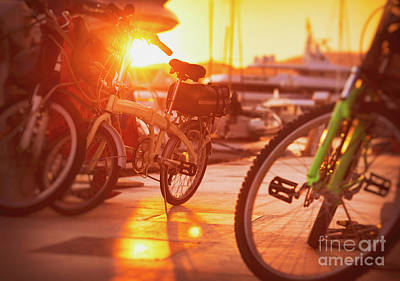 Photograph - Bicycles In Sunset Light by Anna Om