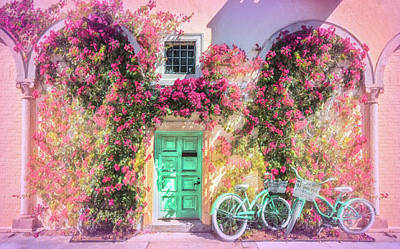 Photograph - Bicycles In The Sun In Pinks by Debra and Dave Vanderlaan
