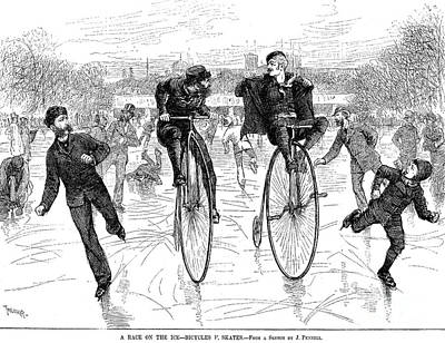 Penny Farthing Photograph - Bicycles On Ice, 1881 by Granger