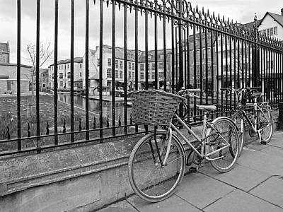 Photograph - Bicycles On Magdalene Bridge Cambridge In Black And White by Gill Billington