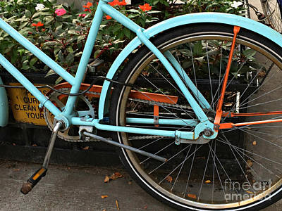 Photograph - Bicyclette Bleu - The Blue Bicycle by Miriam Danar