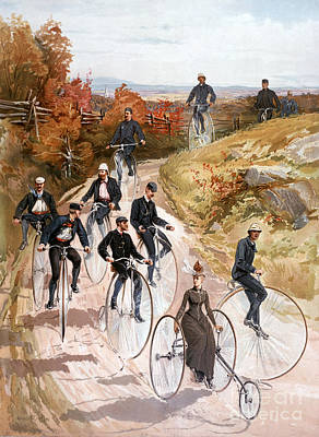 Penny Farthing Photograph - Bicycling, 1887 by Granger
