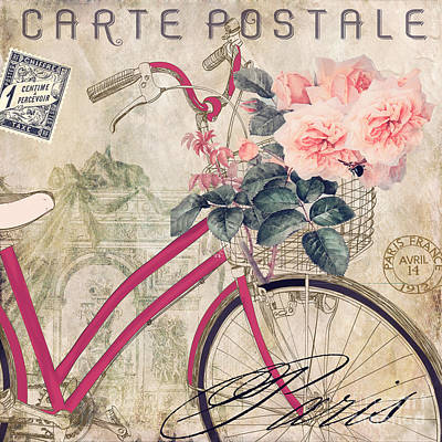 Bicycling In Paris II Art Print by Mindy Sommers