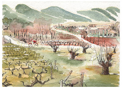 Print featuring the painting Bicycling Through Vineyards by Tilly Strauss