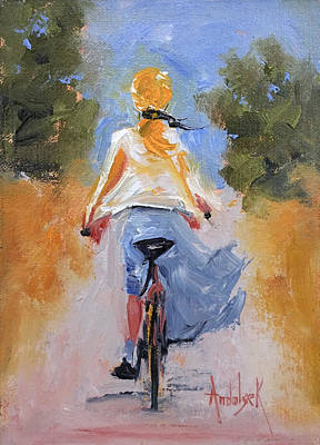 Painting - Bicycling To The Beach by Barbara Andolsek