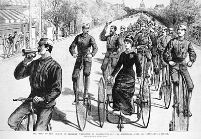 Photograph - Bicyclist Meeting, 1884 by Granger