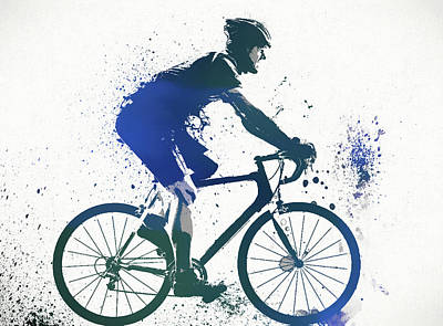 Cycles Painting - Bicyclist Paint Splatter by Dan Sproul