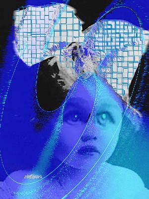 Little Girl Mixed Media - Biddidi-bobbidi-blue by Seth Weaver