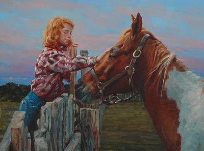 Prairie Girl Wall Art - Painting - Bidding Goodnight by Jim Clements