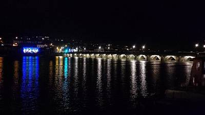 Photograph - Bideford Long Bridge At Night by Richard Brookes