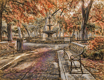 Photograph - Bienville Fountain And Bench Fall Colors by Michael Thomas