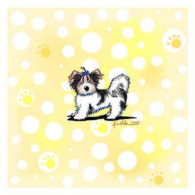 Biewer Terrier Banana Cream Art Print by Kim Niles