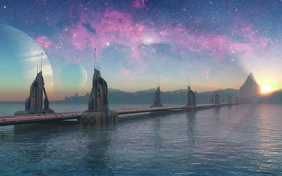 Bridge Digital Art - Bifrost Bridge by Cynthia Decker