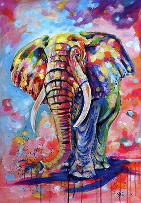 Painting - Big African Elephant by Kovacs Anna Brigitta