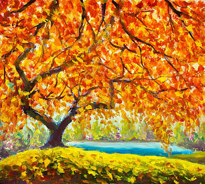 Gold Leave Painting - Big Autumn Tree Near The River Gold, Red, Orange Autumn Leaves. Handmade Oil Painting Autumn Art by Valery Rybakow