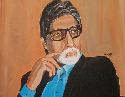 Amitabh Painting - Big B by Subhash Gijare