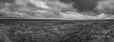 Surrealism Royalty Free Images - Big Badlands Overlook Panorama 2 BW Royalty-Free Image by Michael Ver Sprill