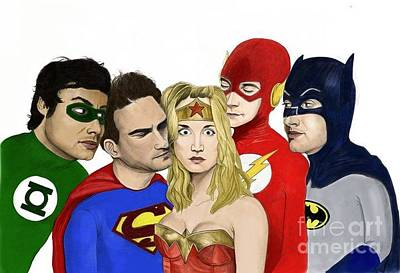 Justice League Drawing - Big Bang League by Jason Casey