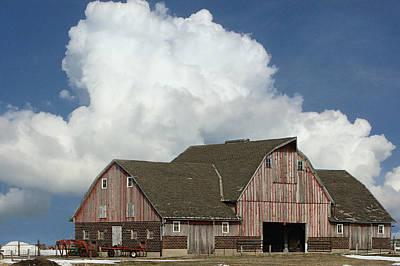 Blue Barn Doors Digital Art - Big Barn Big Cloud by Kathy M Krause