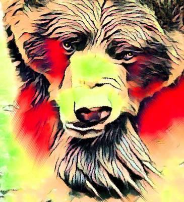 Mammals Mixed Media - Big Bear Laying Down 1 by Ayasha Loya
