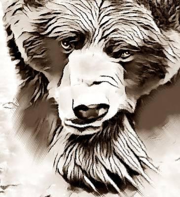 Mammals Mixed Media - Big Bear Laying Down 2 by Ayasha Loya