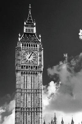 Digital Art - Big Ben And Clouds Bw by Mihaela Pater