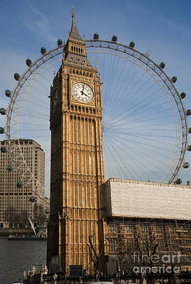 London Eye Digital Art - Big Ben And Eye by Donald Davis