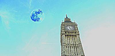 Water Tower Place Painting - Big Ben And Full Moon by Celestial Images