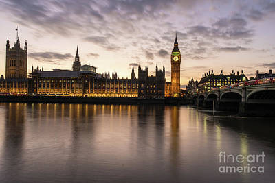 Vintage Pharmacy - Big Ben and Parliament Dusk Reflection by Mike Reid